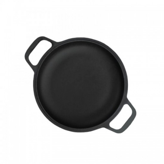 Cast iron portion pan 22cm with wooden plate 24cm