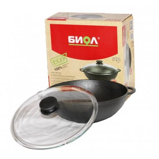 BIOL Cast-iron frying pans WOK 30 cm 5l with glass lid