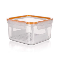 AirTight&Water Lunch box SUPER CLICK with strainer 1,2 L Banquet, size 150x150x H86 mm orange