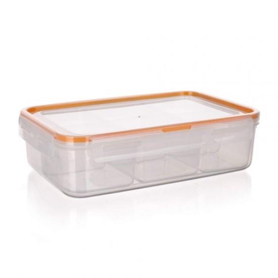 Divided AirTight&Water Lunch Box SUPER CLICK 2,1 L Banquet, size 255x180x H70 mm orange
