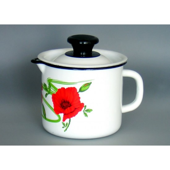 Enamel mug with lid 1l
